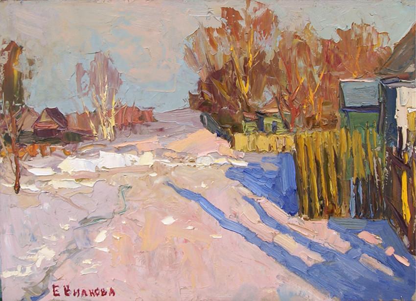 Елена Вилкова, «Зимние тени», 2020 г., картон, масло, 30х42 см