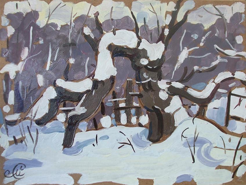 Мария Семченкова, «Дерево в снегу», 2021 г., картон, масло, 15х20 см