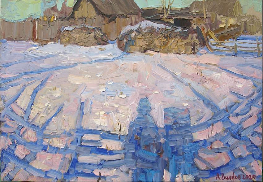 Андрей Вилков, «Автопортрет», 2020 г., картон, масло, 35х50 см