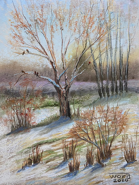 Анаит Варданян, «Первый снег, Берёзовая роща», 2020 г., бумага, сухая пастель, 40х30 см