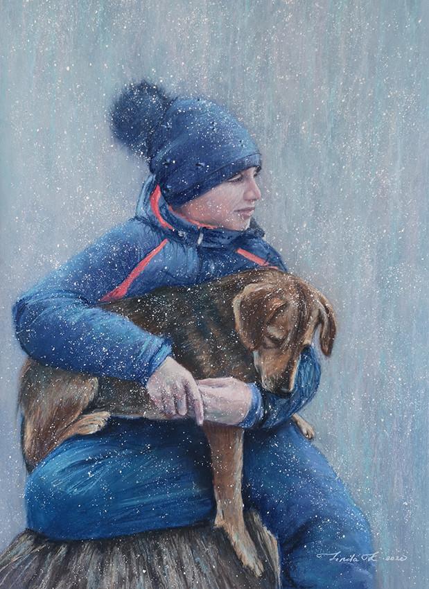 Линда Крицкая, «Снежная нежность», 2020 г., бумага, пастель, 50х40 см