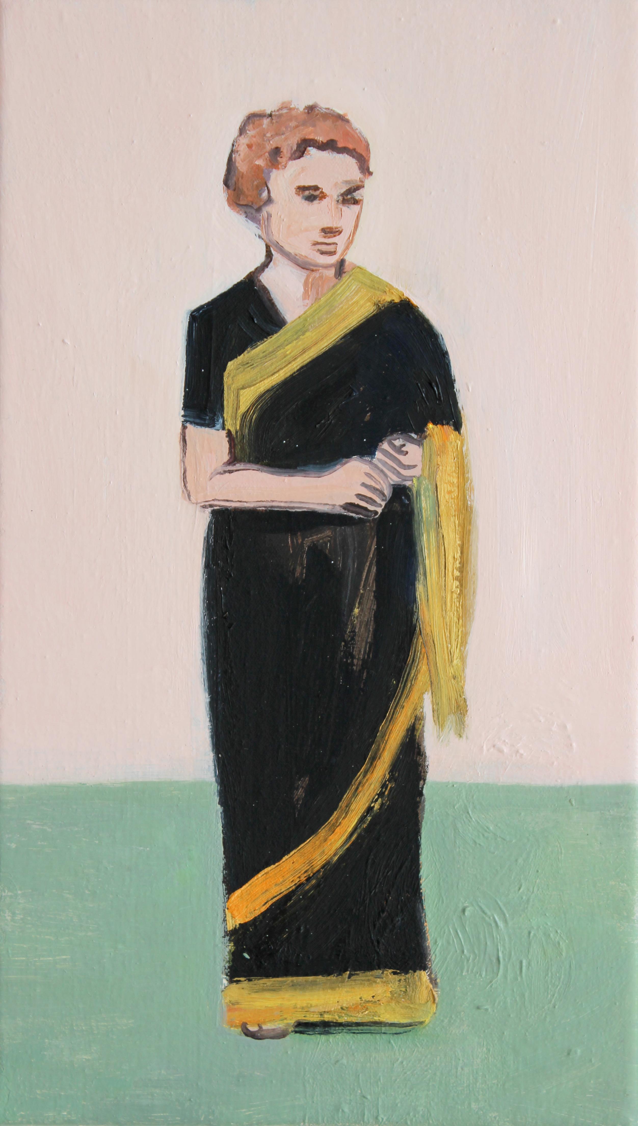 Matthew Krishanu 2016 Black and Gold sari oil on canvas 35x20cm