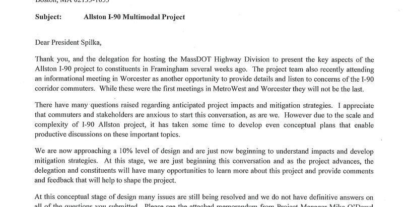Responses to Senate President Spilka's Questions to MassDOT regarding I-90 Multimodal Project