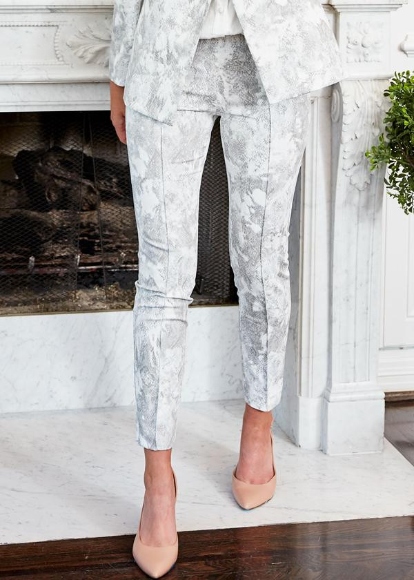 Gregg Pant in Silver Snakeskin by Abbey Glass. Collection SS20. New Arrival