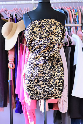 Black and Gold Sequin Bodycon Dress