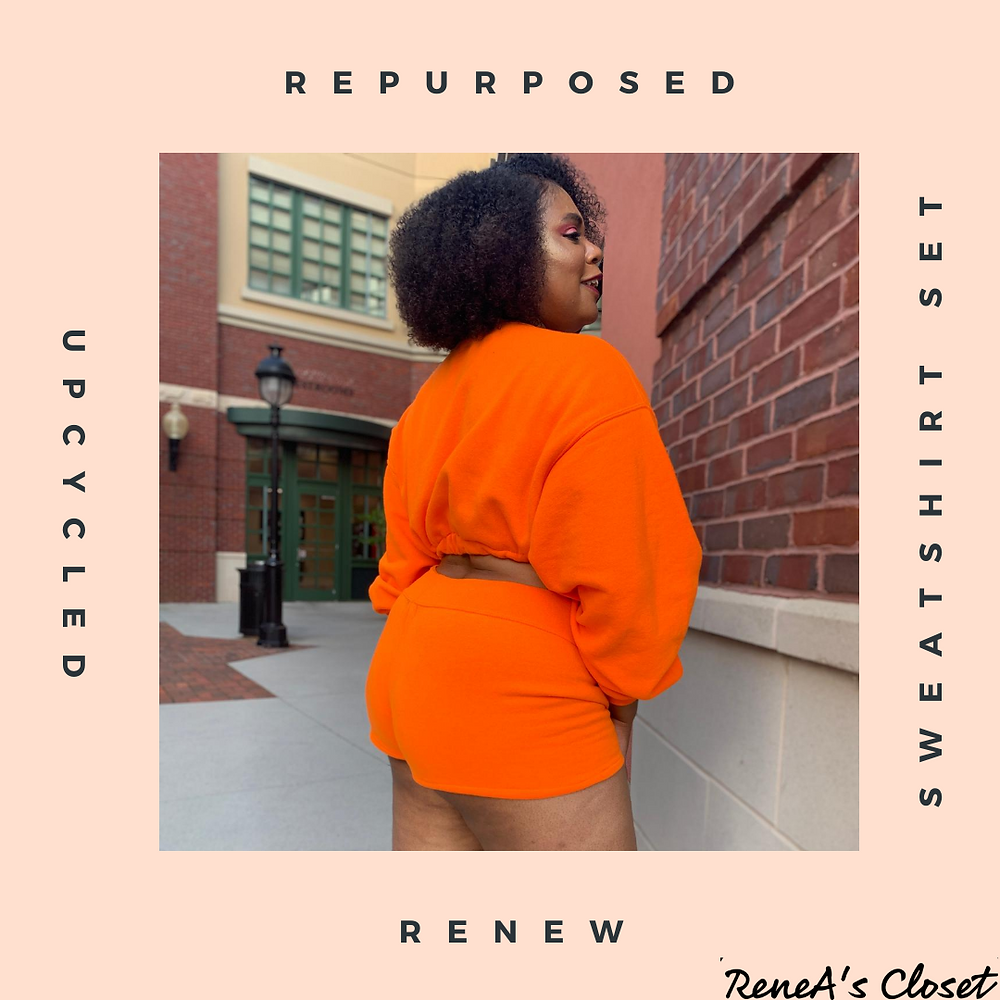 Coming soon are Upcycled Sweatshirt Sets. These sets are composed of a cropped sweatshirt and your choice of a pair of shorty-shorts, regular shorts, or a mini skirt.