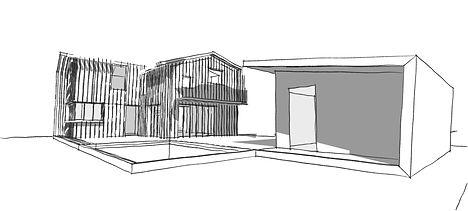Esquisse, faisabilité implantation maison - Florent Pasquier Architecte Bordeaux