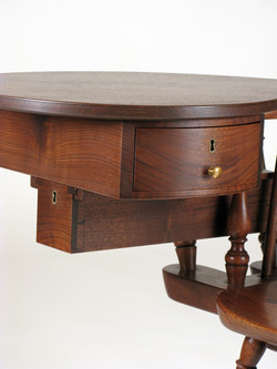 Writing arm chair double drawer