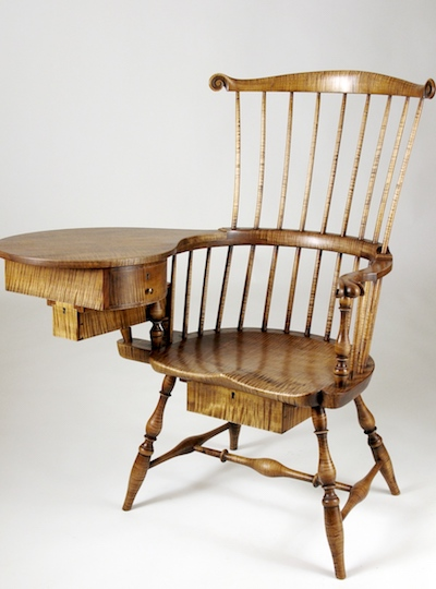 Curly Maple Writing-Arm Chair