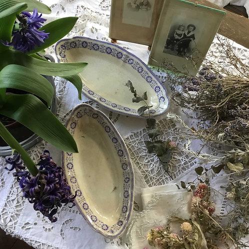 イギリス ストーク・オン・トレント H.B アンティーク アースンウエア オーバルプレート 皿 (A)