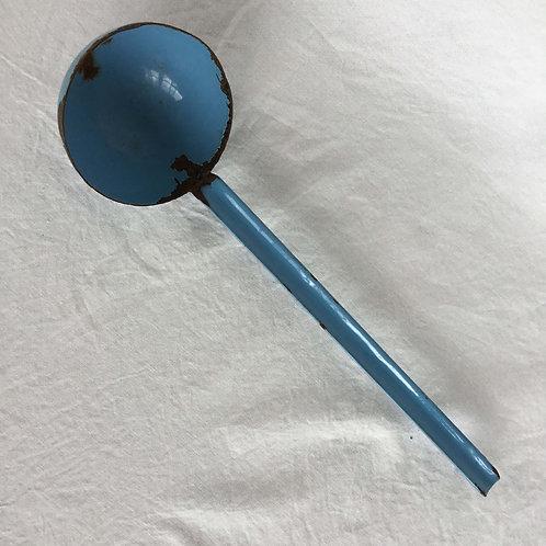 フランス アンティーク ホーロー レードル おたま 水色 ライトブルー  1本