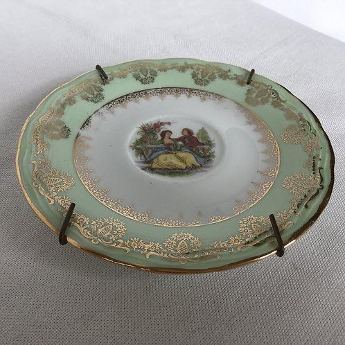 フランスアンティーク リモージュ 金彩 壁掛けプレート 絵皿 ミントグリーン 14cm(金具付き)