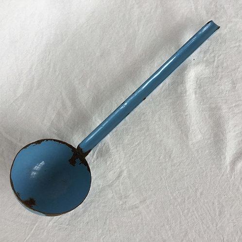 フランス アンティーク ホーロー レードル おたま 水色 ライトブルー 36.3 cm