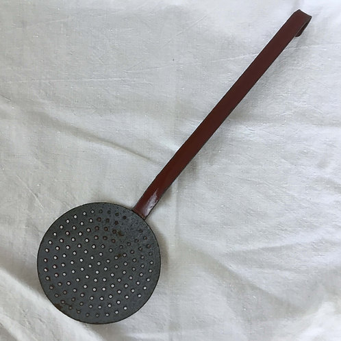 フランス アンティーク ホーロー レードル 穴あきおたま 赤茶 x グレー (L) (39 cm