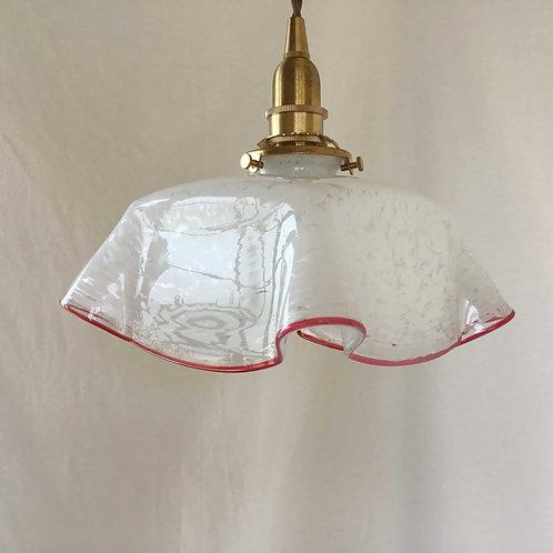 フランス アンティーク ランプシェード ホワイトマーブル x 赤エッジ(シェードのみ)(送料無料)