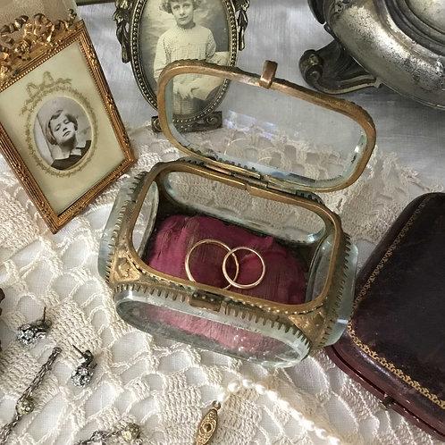 フランス アンティーク ガラスのジュエリーボックス ナポレオン3世様式 (送料無料)