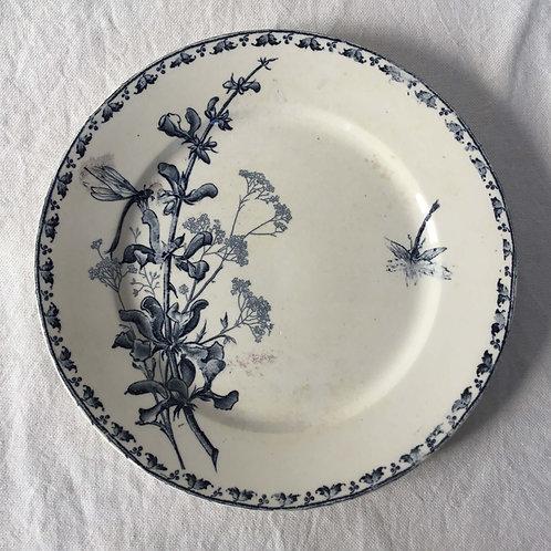 フランス アンティーク サルグミンヌ デザート皿 プレート 21cm (No6 花B-トンボ)
