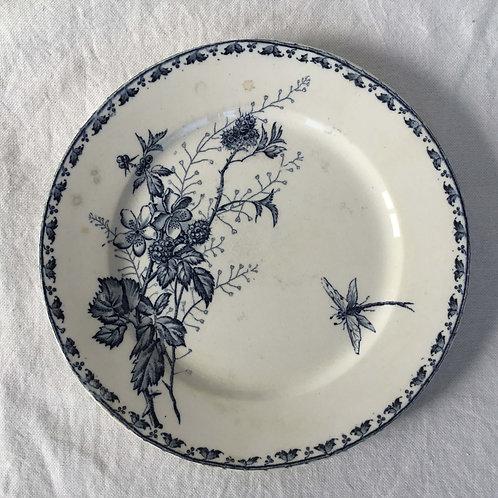 フランス アンティークプレート 皿 サルグミンヌ  21cm (No2 花A-トンボ)