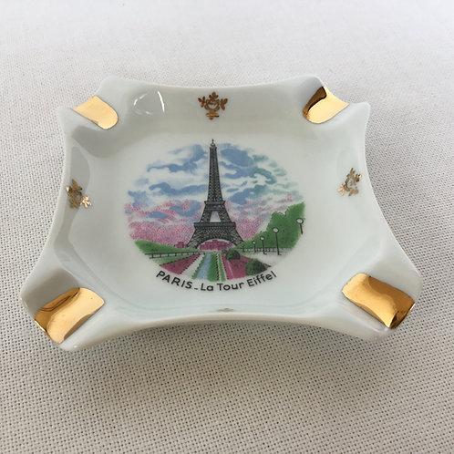 フランスヴィンテージ リモージュ 土産用灰皿 金彩 陶磁器 エッフェル塔