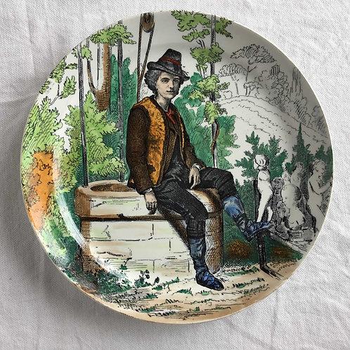 フランス クレイユ エ モントロー L M & Cie アンティーク 絵皿 (1840−1876)