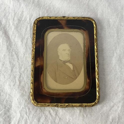 フランス アンティーク 1839-1849 ダゲレオタイプ 銀盤写真 べっ甲柄 ガラス 金彩 フォトフレーム (送料無料)