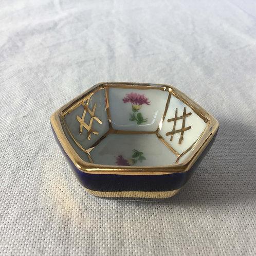 フランスアンティーク リモージュ 金彩 アザミ 小さいボウル 5 cm 六角形