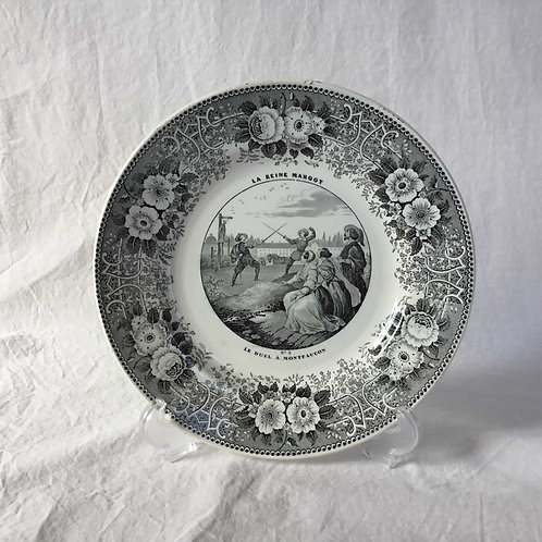 フランス クレイユ エ モントロー アンティーク グリザイユ プレート 絵皿 ' LA REINE MARGOT  No3 ' (1844 - 49)