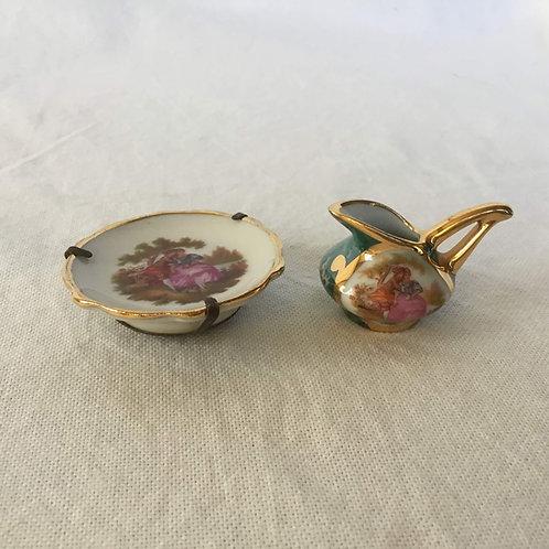 フランス アンティーク リモージュ 金彩 ミニチュア ジャグ&絵皿(金具付き)  2点セット