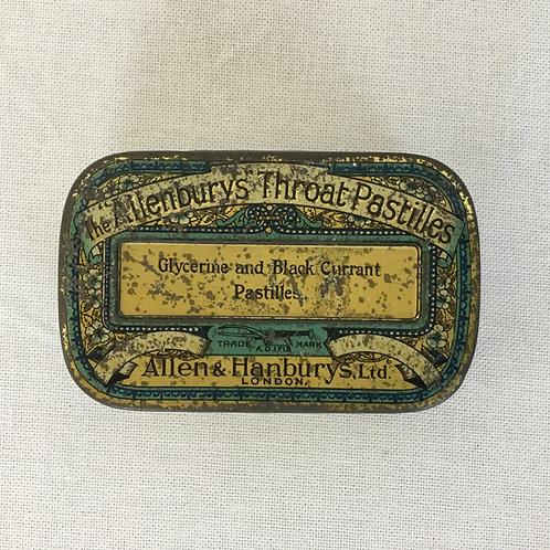 """イギリスアンティーク The """"Allenburys"""" ThroatPastilles ブリキ缶 ティン缶(L)"""