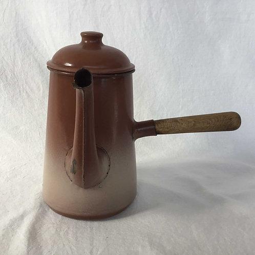 フランス アンティーク チョコレートポット ショコラティエール 木製ハンドル 茶グラデーション