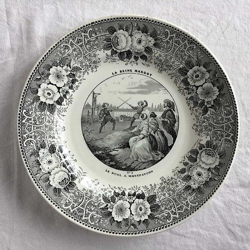フランス クレイユ エ モントロー アンティーク グリザイユ プレート 皿 ' LA REINE MARGOT  No3 ' (1844 - 49)