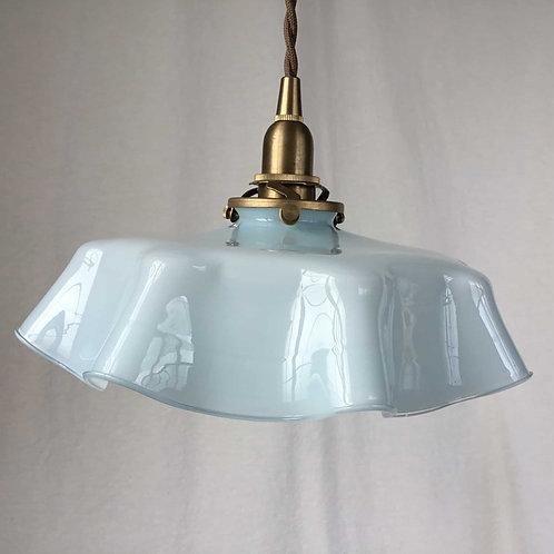 フランスアンティーク ガラス ランプシェード オパリン 水色 ベビーブルー ペールブルー (シェードのみ) (送料無料)
