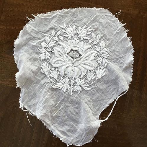 フランス アンティーク ホワイトワーク 刺繍部分直径 16.5 cm 白 ホワイト