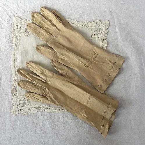 フランス アンティーク レザー ミディアムロング グローブ 手袋 エクリュ レディース(小さい手用)
