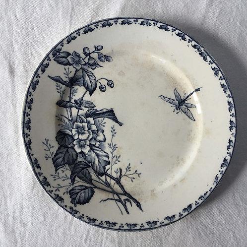 フランス サルグミンヌ アンティーク 皿 プレート 21cm (No10 花D-トンボ)