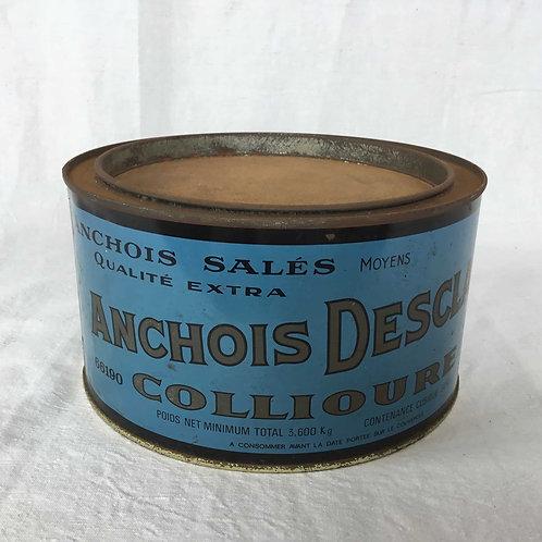 フランス ヴィンテージ DESCLAUX アンチョビ3.6キロ缶 (さびあり)