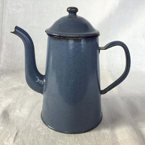 フランスアンティーク ホーロー カフェティエール コーヒーポット 青 ブルー マーブル