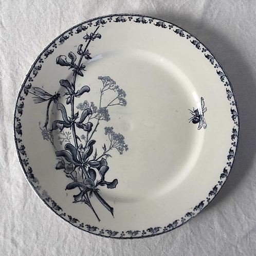 フランス アンティークプレート 皿 サルグミンヌ  21cm (No5 花B-蜂)