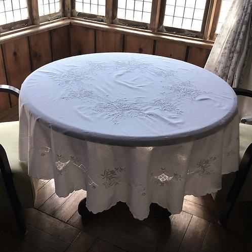 フランス アンティーク 大判テーブルクロス オーバル ホワイトワーク 薔薇 ローズ 175 x 165  (送料無料)