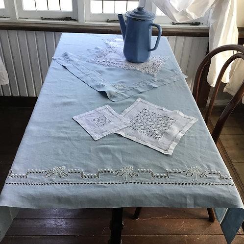 (セット) フランス アンティーク コットン ベビー用 ベッドリネン シーツ& ピローケース  ベビーブルー 白刺繍 水色 150x 90