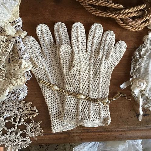 フランス アンティーク グローブ 手袋 クロシェ レディース(小さい手用)