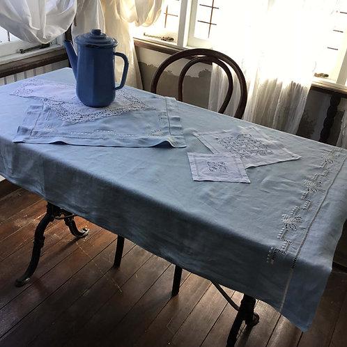 フランス アンティーク ベビー用 ベッドリネンシーツ& ピローケース セット ベビーブルー 白刺繍 水色 (送料無料)