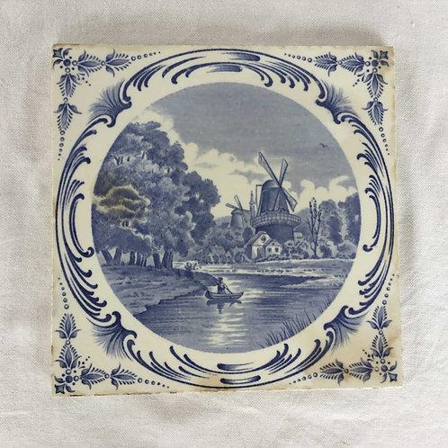 フランス サンタマン窯 Saint Amand et Hamage Nord アンティークタイル 20cm (1896-1923)
