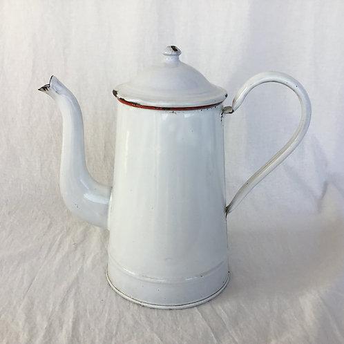 フランスアンティーク ホーロー カフェティエール コーヒーポット 白&赤ライン 大きめサイズ 27cm(送料無料)