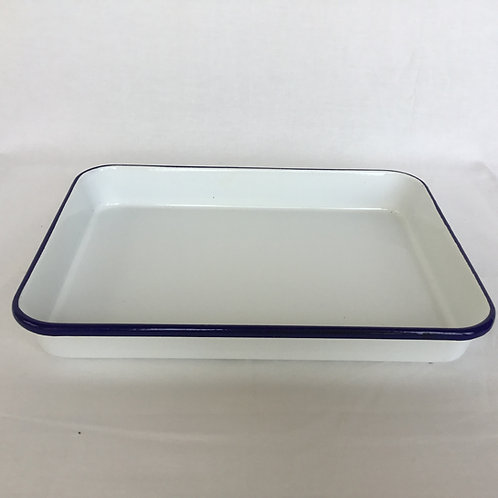 フランスアンティーク ホーローパッド トレー 長方形(L) 白x紺