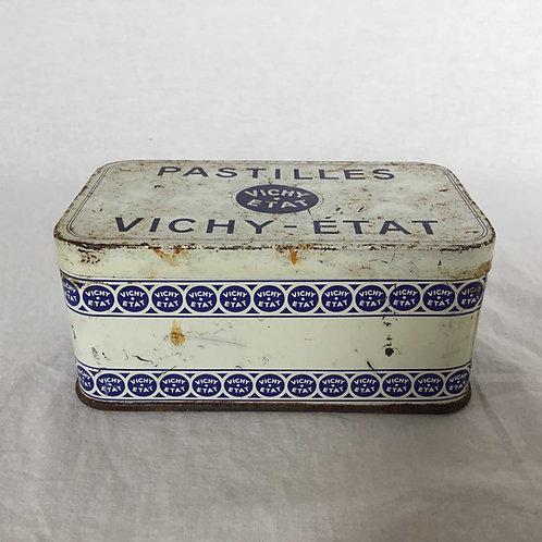 フランス アンティーク VICHY-ETAT PASTILLES ヴィシー  ブリキ缶 ティン缶 14cm