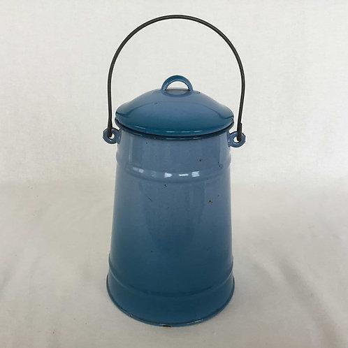 フランスアンティーク ホーローミルクキャリー 青グラデーション 水色