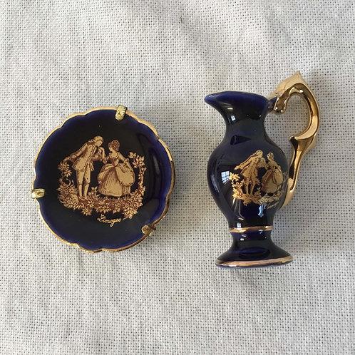 (ミニチュア)フランス アンティーク リモージュ 金彩 花瓶&絵皿(金具付き) 2点セット