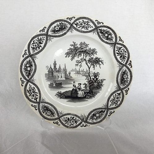 フランス アンティーク グリザイユ プレート 絵皿 ボルドー窯 David Johnson &Co (1835-1846)