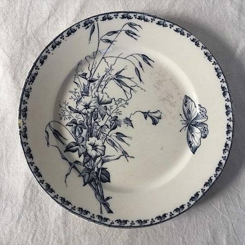 フランス サルグミンヌ  アンティークプレート 皿  21cm (No9 花C-蝶)
